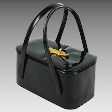 Vintage 1950s Box Purse Black Vinyl Double Handle Handbag by Etra