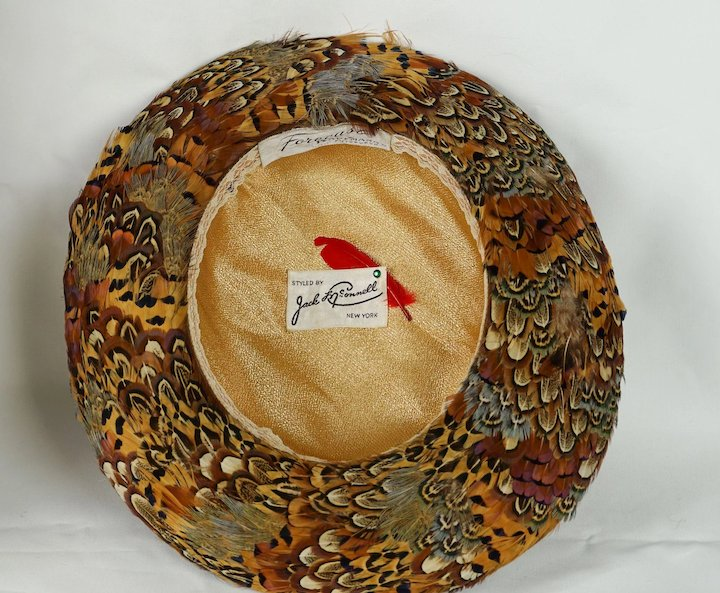 6fbc3a59b4197 Vintage Jack McConnell Hat Velvet and Pheasant Feathered Breton - Red  Feather Sz 22