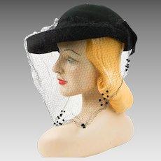Vintage 1940s Tilt Hat Black Felt Upturned Brim with Netting Sz 21