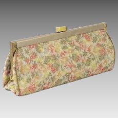 1960s Vintage Floral Glitter Brocade Formal Clutch Purse