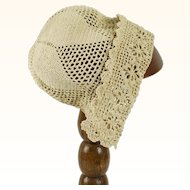 Vintage Ecru Hand Crocheted Baby or Doll Cap