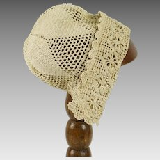 Vintage Ecru Hand Crocheted Baby or Doll Cap