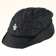 Vintage 1950s Black Nylon Boys Cap with Ear Flaps NOS