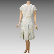 Vintage 1970s Dress Pale Blue Yellow and White Florals by Martha Manning VOLUP Sz B46 W34