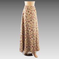 Vintage 1960s Hostess Skirt Heavy Tapestry Floor Length by John Meyer Sz 12 W26 H38