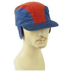 1950s Vintage Red and Blue Corduroy Workwear Cap with Ear Flaps Sz 6 3/4 NOS