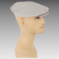 1950s Vintage Mans Hat Khaki Canvas Adjustable Flat Cap Sz M L NOS