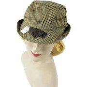 Vintage 1950s Hat Unisex Brown Plaid Bucket Style Sporting Cap NOS Sz 6 3/4