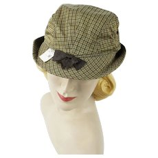 Vintage 1950s Hat Unisex Brown Plaid Bucket Style Sporting Cap NOS Sz 6 3/4