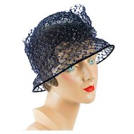 Vintage Hat Navy Blue Beaded Wire Brimmed Cloche Sz 22
