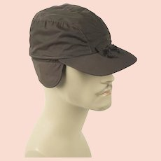 1950s Vintage Brown Canvas Workwear Cap with Ear Flaps Sz 6 3/4 NOS