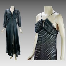 1970s Vintage Nightgown and Robe Black Sheer Peignoire Sears Sz S