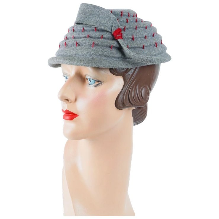 3eda628accb HOLD 1950s Vintage Hat Grey Pagoda Style with Red Accents by Ferncroft Sz 21