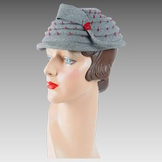 1950s Vintage Hat Grey Pagoda Style with Red Accents by Ferncroft Sz 21