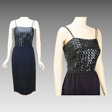 1960s Vintage Dress Black Crepe and Sequin Cocktail Formal B36 W26