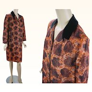 1960s Vintage Coat Brown and Gold Floral Pattern Weather Rain Outerwear B40 W42