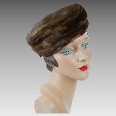 1960s Vintage Hat Brown Mink Pillbox by Christine