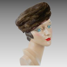 1960s Vintage Hat Brown Mink Pillbox by Christine