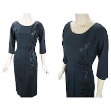1950s Vintage Dress Figure Hugging Black Crepe with Satin Applique Topaz Original B42 W28 - Red Tag Sale Item