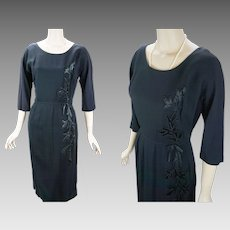 1950s Vintage Dress Figure Hugging Black Crepe with Satin Applique Topaz Original B42 W28