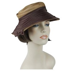 e4617f5a28bd2 Recently Sold on Ruby Lane. SOLD. 1950s Vintage Hat Natural Straw with  Brown Chiffon Asymmetrical Brimmed Bucket by Chante Original Tag Sz