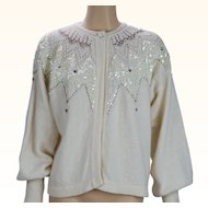 1990s Vintage Beaded Sweater Ivory Lambswool Cardigan by Marisa Christina B42