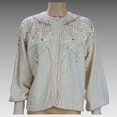 1990s Vintage Beaded Sweater Ivory Lambswool Cardigan by Marisa Christina B42