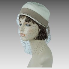 1950s Vintage Hat Beige and Taupe Silk Veiled Cloche by Miss May Sz 22