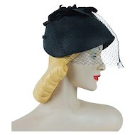 1950s Vintage Hat Black Straw Veiled Cloche with Silk Petals Miss Frederics Sz 22
