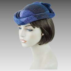 1980s Vintage Hat Lilac Wool Plaid Teardrop Fascinator