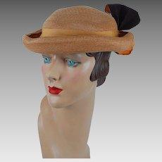 1930s Vintage Hat NOS NWT Mustard Straw Curled Brim by Ilten Sz 22