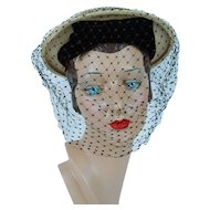 1950s Vintage Hat Natural Straw Veiled Boater by Emme