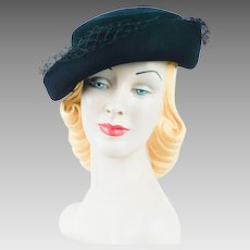 1940s Vintage Hat Ladies Black Felt Cuffed Tilt by Dobbs Henriette Sz 7 1/8