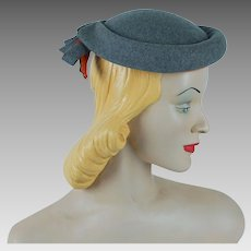 1950s Vintage Hat Grey Wool Bumper Brim Beret with Tangerine Accents