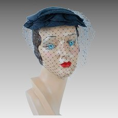 1950s Vintage Hat Navy Blue Straw Beret by Hattie Carnegie Hat Box and Price Tag