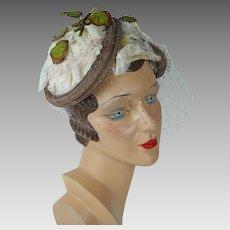 1950s Vintage Hat Structured Floral English Half Hat by Otto Lucas Original Hatbox