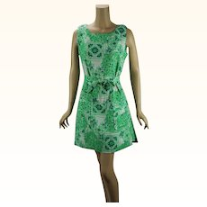 Vintage 1960s Scooter Dress Green and White Cotton Skort Romper by Liberty Circle B38