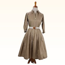 1950s Vintage Dress Taupe and White Polished Cotton Stripe Full Skirt by Carlye B36 W24 Petite or Youth Size