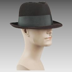 1950s - 1960s Vintage Homburg Brown Fur Felt in Original Hat Box Champs Sz 7 1/4