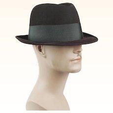 1950s - 1960s Vintage Homburg Brown Fur Felt in Original Hat Box Champs Sz 7 1/4