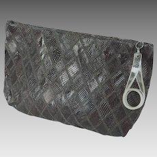 1940s Vintage Purse  Brown Diamond Pattern Lizard Clutch with Lucite Pull Handbag