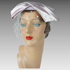 1950s Vintage Hat Pink Straw and Satin Cuffed Beret by John Frederics
