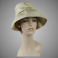 1960s Vintage Hat Gold Silk Deep Crown Floppy Wide Brim by Betmar Sz 21 1/2