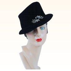 1950s Vintage Hat Black Velvet Asymmetrical with Rhinestone Brooch by Andrea Sz 23
