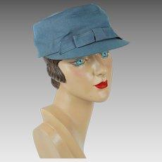 1950s Vintage Hat Military Uniform Style Blue Gray Canvas Ladies Brimmed Cap by Knox Sz 22 1/2