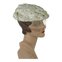 1950s Vintage Hat Ivory Cellophane Straw Beret with Veil by John Frederics