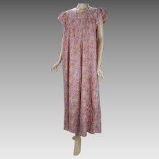 1990s Vintage Dress Pink Flowered Liberty House Hawaiian Mumu Sz 16 VOLUP B44 W58