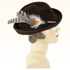 1970s Vintage Hat Brown Feather Derby by Betmar Sz 22