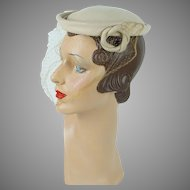 1950s Vintage Hat Tan Velour Veiled Beret by Amy