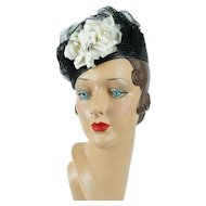 1940s Vintage Hat Black Straw Tilt with White Rose Sz 21 1/2